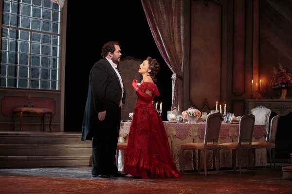 A scene from a live stage production of La Traviata, directed by Alison Moritz.