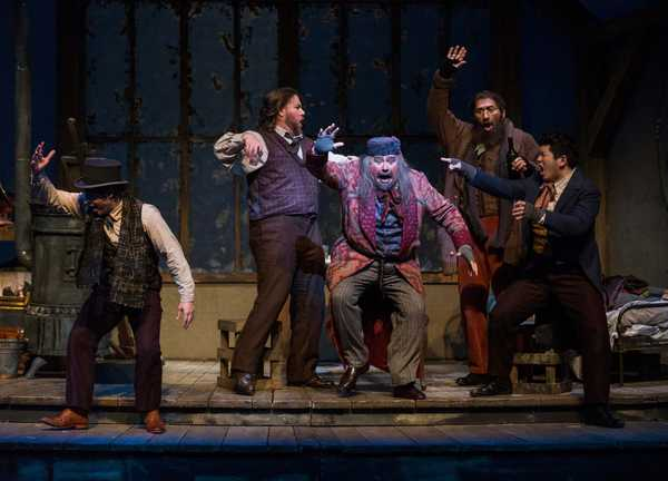 A scene from a live stage production of La Bohème, directed by Alison Moritz.