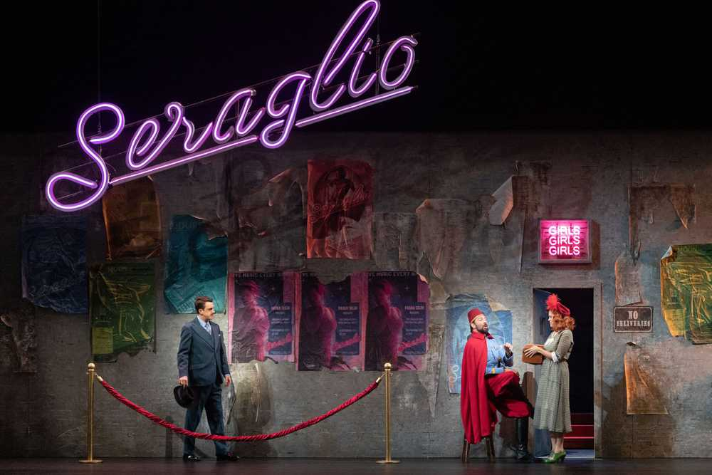 A scene from a live stage production of Abduction from the Seraglio, directed by Alison Moritz.